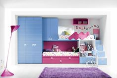 room purple cute : Enchanting Modern Interior Of Cute Bedroom Design Pink Bunk Beds Combined Blue Cupboard Desk Furnished Purple Soft Rug Completed Pink Flooring Stand Lamp On