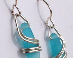 DEEP AQUA Right Coast Earrings by carolynrochedesigns on Etsy