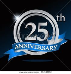 25th anniversary logo with blue ribbon. 25 years anniversary signs illustration. Silver anniversary logo with blue ribbon ring. - stock vector