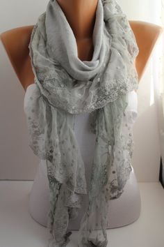 Light grey Shawl/Scarf  with Lace by DIDUCI on Etsy, $19.90