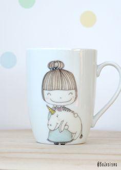 unicorn girl tea mug - hand printed ceramics by Bodesigns www.bodesigns.be
