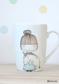 unicorn girl tea mug - hand printed ceramics  by Bodesigns www.bodesigns.be
