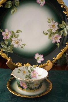 Manufacturer: LIMOGES - Pattern: Wild Roses - Attached Mayonaise and Dinner plate Antique Dishes, Vintage Dishes, Vintage China, Vintage Teacups, Tea Cup Saucer, Tea Cups, China Tea Sets, Teapots And Cups, My Cup Of Tea