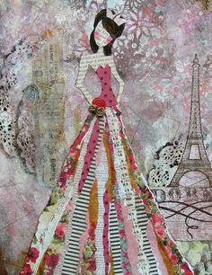 awesome collage for the dress Julie Nutting Designs Collage Kunst, Collage Art, Painting Collage, Painting Abstract, Acrylic Paintings, Mixed Media Collage, Mixed Media Canvas, Art Journal Pages, Art Journals