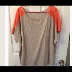 reposhed used original picture Beige and orange lace shirt 26/28 Lane Bryant Tops