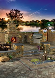 This outdoor fireplace perfectly complements the other outdoor living kits! Cambridge Pavingstones outdoor living kits are easy and quick to install!