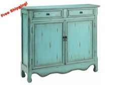 13017 - Claridon Cupboard Two Door, Two Drawer in Antique Blue