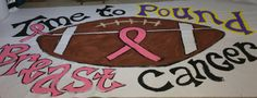 Easy Breast Cancer Run Through sign for my nephews football team. - Football run through signs - Football Run, Football Banner, Football Signs, Football Cheerleaders, School Football, Football Posters, Football Moms, Football Quotes, Football Season