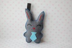 felt Rabbit key chain bag charm Easter Bunny with a by Mielamiela, $7.50