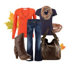 Fall orange with purple and brown