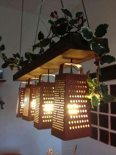Recycled lighting made from graters, this is wonderful!