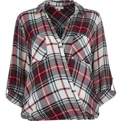 River Island Red check wrap front blouse (305 NOK) ❤ liked on Polyvore featuring tops, blouses, shirts, blusas, red, sale, women, red checkered shirt, button front shirt and long red shirt