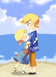 Aryll and Link - Zelda The Wind Waker.  Gee... is Aryll the only young girl Link didn't crush on in the whole series?  Oh Link, you ladies man. :P