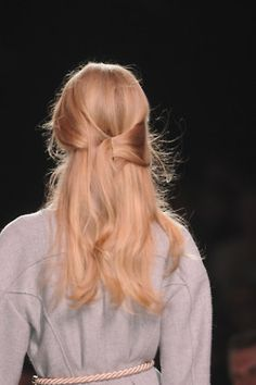 gorgeous light rose gold blonde runway hair