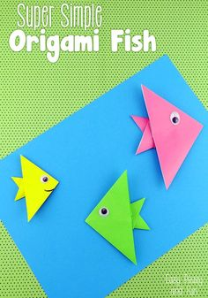 Super Simple Origami Fish for Kids--Step By Step Tutorial perfect for kids and beginners. Try this DIY your kids will love!
