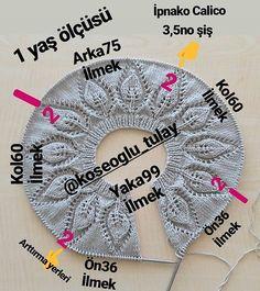 ok beendoim bir roba modeli. By koseoglu_tulay . Diy Crafts Knitting, Diy Crafts Crochet, Easy Knitting Patterns, Knitting Charts, Knitting For Kids, Crochet For Kids, Baby Knitting, Crochet Baby Cardigan, Baby Boy Quilts