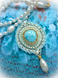 """Sea and Sky"" Beaded Pendant Necklace with freshwater pearls by JewelryElenNoel, $148.00"