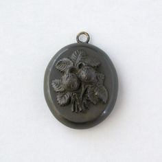 Antique Victorian Mourning Locket . Hair . Baby Strawberries . Vulcanite .. $260.00, via Etsy.