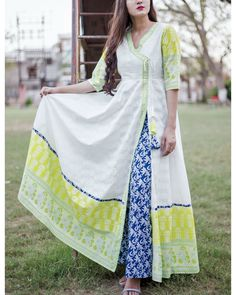 Buy The Secret Label Lime and blue cotton printed angrakha set online in India at best price.Colours of summer presented to you in a beautiful set of tunic and palazzo. Pakistani Dresses, Indian Dresses, Indian Outfits, Stylish Dresses, Casual Dresses, Fashion Dresses, Casual Frocks, Girl Fashion, Kurti Patterns