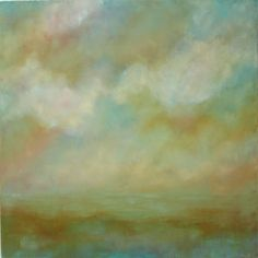 Miles From  Nowhere - Original  Abstract Landscape Oil Painting on Canvas 36x36 blue green teal clouds and sky large palette knife painting. $295.00, via Etsy.