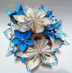 paper flower centerpieces | Wedding Centerpiece- paper flowers and lilies, custom song choice