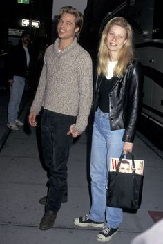 30+ Times '90s Gwyneth Paltrow Was Our Style Crush #refinery29 http://www.refinery29.com/2016/03/106619/gwyneth-paltrow-lookbook-throwback-90s-fashion#slide-2 Brad & Gwyn, 1996Out and about in NYC looking like a living, breathing Calvin Klein advertisement (you can almost smell the leather and cK One from here). As you will learn on this slide-journey, there is no one who wears a leather jacket better than GP. Note: It's never a biker, but strictly normcore blazer styles worn cropped o...