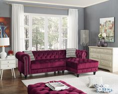 2 pc House of hampton millry wine red velvet like fabric sectional sofa tufted accents. This set includes the 2 pc sectional set , LAF sofa, RAF chaise. Sectional as shown measures x x x H. Optional ottoman also available separately Teal Living Rooms, Living Room Sofa, Living Room Furniture, Living Room Decor, Burgundy Living Room, Living Area, Sofa Design, Interior Design, Home Decor