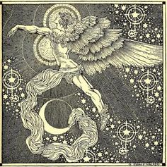 """Rainbow gold: poems old and new selected for boys and girls, 1922  Illustrations Dugald Stewart Walker  """"In Heaven a spirit doth dwell    Whose heart-strings are a lute;  None sing so wildly well  As the Angel Israfel"""""""