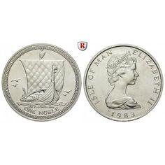Insel Man, Elizabeth II., Noble 1983, 31,07 g fein, st: Elizabeth II. seit 1952. Platin-Noble 31,07 g fein, 1983. Wikingerschiff. KM… #coins