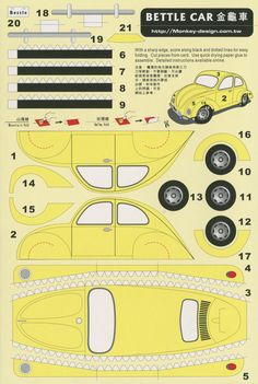 All sizes | Bettle Car [sic] - Cut Out Postcard | Flickr - Photo Sharing!
