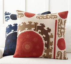 """True to the """"needle"""" origin of the Persian word suzani, these pillows are embroidered with traditional floral motifs in richly colored patterns that define this historic style. Red Pillows, Velvet Pillows, Throw Pillows, Accent Pillows, Applique Pillows, Pillow Texture, Leather Pillow, Decorative Pillow Covers, Pillow Set"""