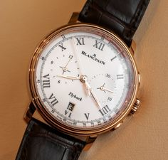 Hands-on aBlogtoWatch look the Blancpain Villeret Pulsometer Flyback Chronograph reference 6680F-3631-55B timepiece with the new F358 caliber