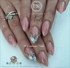 Nude Diamond Shiny Stiletto Nails