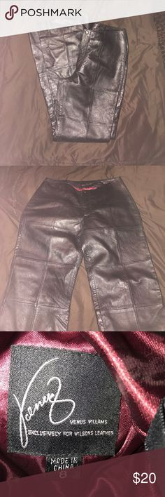 Wilsons Leather Venus Williams pants This is a beautiful pair of leather pants exclusively by Wilson's leather size 8 silk like lining inside pants. Venus Williams pants.. Wilsons Leather Pants Boot Cut & Flare