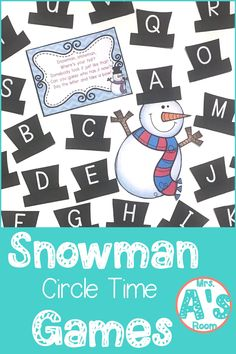 These ideas for snowman circle time games are a great way to get your kiddos learning and having fun all at the same time! These 9 activities are ready to print and use, and your preschool and kindergarten kiddos will love them! Circle Time Games, Circle Time Activities, Snow Activities, Winter Activities For Kids, Kindergarten Activities, Preschool Activities, Preschool Winter, Alphabet Activities, Winter Fun