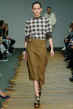 plaid layers, fall, gingham, brown, olive, khaki, fatigue style, wrap skirt, flatform shoes, mary janes, leather from: Celine AW 2014
