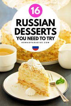 Ukrainian Recipes, Hungarian Recipes, Russian Recipes, Dessert Cake Recipes, Just Desserts, Delicious Desserts, Russian Dishes, Russian Desserts, Polish Food