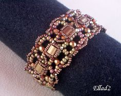 bracelet bead patterns using cube beads | bracelet withTila beads, Beading Tutorials and Patterns by Ellad2