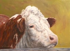 Hereford Face Oil Painting Cow Art Farm Animal Portraits Steer, painting by artist Debra Sisson