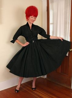 PERFECT 1950's New Look Couture Inky Black by butchwaxvintage, $295.00