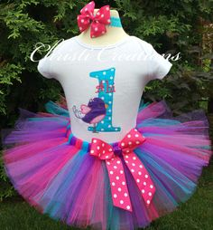 Bird--Baby Girl 1st Birthday Tutu Set--Party Outfit--Personalized--Hot Pink and Turquoise