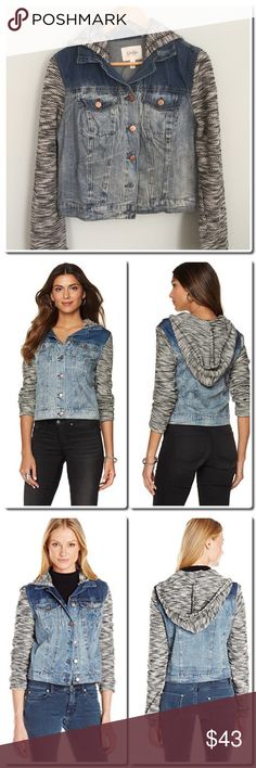 Jessica Simpson Marled Sleeve Pixie Denim Jacket From Jessica Simpson, this jacket features: Marled hood and sleeves Point collar Long sleeves Button front Cotton/spandex/rayon Machine wash Jessica Simpson Jackets & Coats Jean Jackets