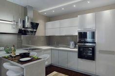 Konyha és nappali egy térben, eltolható üveg válaszfallal elkülöníthető a két zóna - 50m2-es lakás