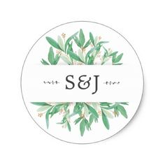 Shop Watercolor Botanical Ornamental Leaves Wedding Classic Round Sticker created by JMR_Designs. Personalize it with photos & text or purchase as is! Invitation Card Design, Custom Invitations, Invitation Cards, Wedding Invitations, Thank You Stickers, Wedding Thank You Cards, Round Stickers, Custom Stickers, Initials