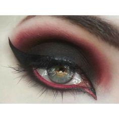 Black and Red Gothy Makeup Tutorial ❤ liked on Polyvore featuring beauty products, makeup, eye makeup, eyes and eye pencil makeup