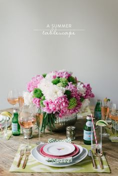#hydrangeas #peony #centerpiece   Read more - http://www.stylemepretty.com/2013/07/02/a-summer-tablescape-from-waiting-on-martha/