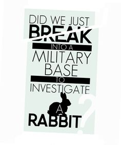 Did we just break into a military base to investigate a rabbit?