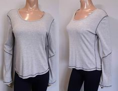 Roots Long Flare Sleeve Top Womens Size Large Grey Black Stitching Scoop Neck #Roots #Basic #Casual Roots, Flare, Stitching, Scoop Neck, Blouses, Grey, Long Sleeve, Casual, Sleeves