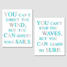 Nautical Inspirational Quote Duo - Set of Two 8x10 Coordinating Typography Prints - Blue, Aqua, Gray, Turquoise, White - Beach House Decor. $39.50, via Etsy.