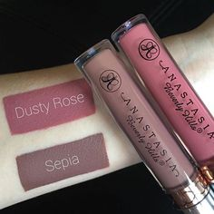 Dusty Rose & Sepia liquid lipsticks  @abbeyparkemakeup  #abhsepia #abhdustyrose #anastasiabeverlyhills